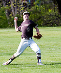 WINSTED,  CT-051217JS05- Thomaston's Jonathan Wilson (6) come up throwing after fielding a ball hit to the outfield during their game against Gilbert Friday at Walker Field in Winsted. <br />   Jim Shannon Republican-American