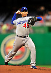 23 April 2010: Los Angeles Dodgers' pitcher Charlie Haeger on the mound against the Washington Nationals at Nationals Park in Washington, DC. The Nationals defeated the Dodgers 5-1 in the first game of their 3-game series. Mandatory Credit: Ed Wolfstein Photo