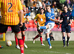 Partick Thistle v St Johnstone.....14.03.15<br /> David Wotherspon's shot is aved by Scott Fox<br /> Picture by Graeme Hart.<br /> Copyright Perthshire Picture Agency<br /> Tel: 01738 623350  Mobile: 07990 594431