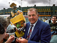 Former Greeh Bay Packer Jerry Kramer signs autographs for Packer fans at the conclusion of the September 15, 1996 game against the San Diego Chargers. Part of the Packers' commitment to the fans involves bringing back past Packers for an alumni appreciation day.