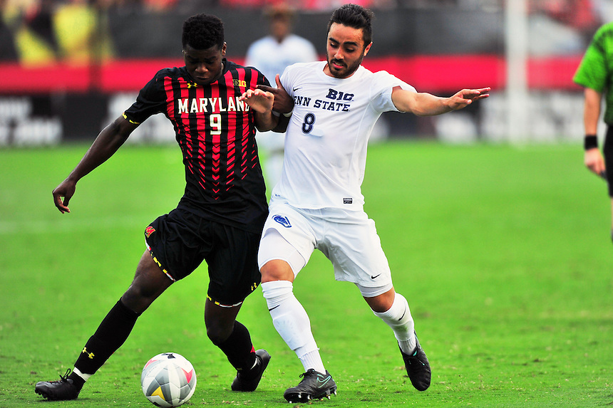 Sebastian Elney of the Terrapins and Austin Maloney of Penn State battle for control of the ball. Maryland defeated Penn State in over time 3-2 during an NCAA D-1 soccer match at Ludwig Field in College Park, MD on Sunday, September 18, 2016.  Alan P. Santos/DC Sports Box