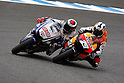 May 2, 2010 - Jerez, Spain -  Spanish riders Dani Pedrosa and Jorge Lorenzo power their bikes during the MotoGP race at Circuito de Jerez on May 2, 2010 in Jerez de la Frontera, Spain. (Photo Andrew Northcott/Nippon News).