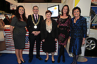 NO FEE PICTURES.25/1/13 Lord Mayor of Dublin Naoise Ó Muirí with Jim O'Rourke, Mary O'Connor, Elizabeth Forrest and Clare Dunne, President ITTA Beverly Fly, Vist USA and Ciara Foley at the Holiday World Show at the RDS, Dublin. Picture:Arthur Carron/Collins