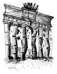 (Nikita Khrushchev, Samson-like, pulls down the pillars of the Brandenburg Gate)