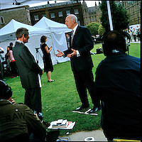 UK. London. From a story on Abingdon Street Gardens, a small patch of land, often referred to as College Green, that lies next to The Houses of Parliament in Westminster. It is a place where the media and the politicians come face to face. Interviews are held, photo shoots are set up and bewildered tourists stroll by..Photo shows former Conservative Party Leader Iain Duncan Smith the day Gordon Brown took over as British Prime Minister..Photo©Steve Forrest/Workers Photos