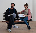"London, UK. 12/04/2011. Kara Tointon and Rupert Everett in rehearsal for ""Pygmalion"", which opens at the Garrick Theatre, London. Picture credit should read: Jane Hobson"