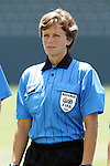 24 July 2005: Referee Kari Seitz. The United States defeated Iceland 3-0 at the Home Depot Center in Carson, California in a Women's International Friendly soccer match.