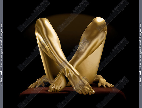 Crossed golden legs of a woman on black background