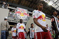 Jeremy Hall (17) New York Red Bulls enter the field prior to a friendly between Santos FC and the New York Red Bulls at Red Bull Arena in Harrison, NJ, on March 20, 2010. The Red Bulls defeated Santos FC 3-1.