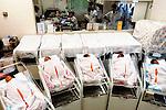 Newly born babies sleep in the maternity ward of a hospital in Tokyo,  Japan.