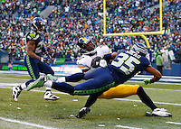 Martavis Bryant #10 of the Pittsburgh Steelers catches a pass in front of DeShawn Shead #35 of the Seattle Seahawks in the second half during the game at CenturyLink Field on November 29, 2015 in Seattle, Washington. (Photo by Jared Wickerham/DKPittsburghSports)