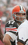 Cleveland Browns quarterback Jake Delhomme watches the clock wind down as the Buccaneers defeated the Browns 17-14 in the opening NFL regular season game Sunday, Sept. 12, 2010 in Tampa,Fla. (AP Photo/Margaret Bowles)