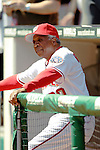 11 April 2006: Frank Robinson, Hall of Fame manager of the Washington Nationals, awaits his name announcement from the dugout during the pre-game ceremonies of the Nationals' Home Opener against the New York Mets in Washington, DC. The Mets defeated the Nationals 7-1 to start the 2006 season at RFK Stadium...Mandatory Photo Credit: Ed Wolfstein Photo..