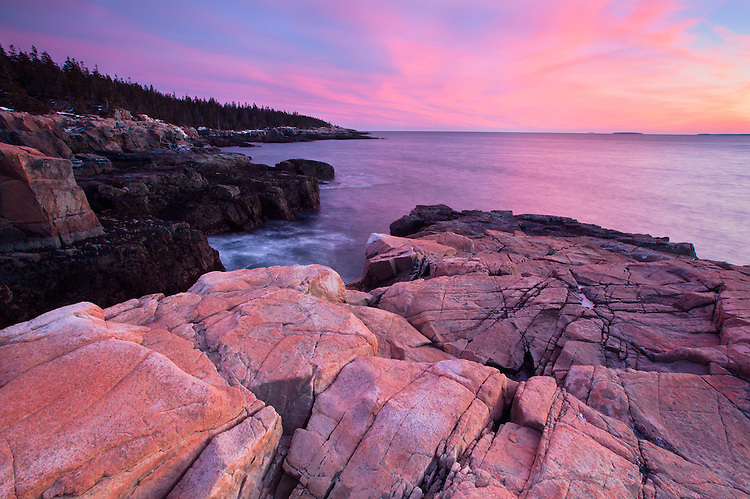 Colorful sunset along the western side of the Schoodic Peninsula in Acadia National Park, Maine, USA
