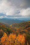Breaking storm and autumn colors, Great Smoky mountains National Park