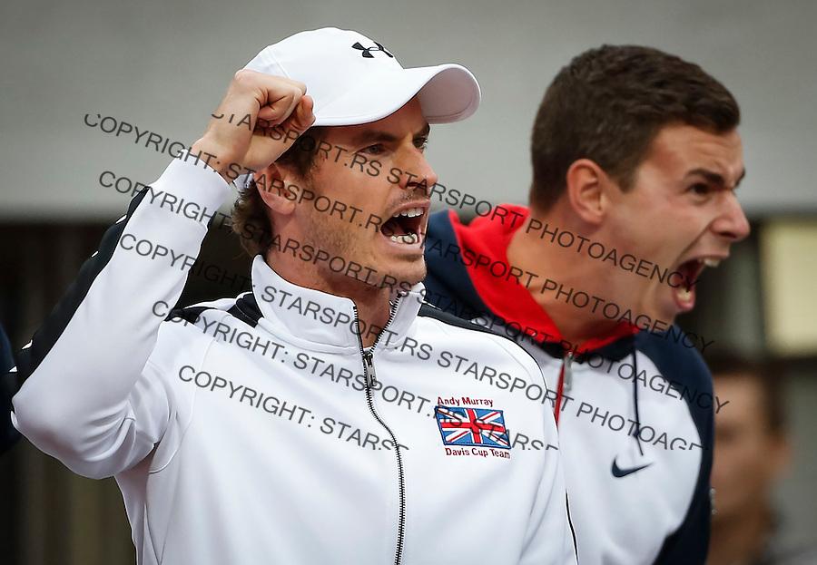 Davis Cup 2016 Quarter Final<br /> Srbija v Velika Britanija-Dubl-Doubles<br /> Dusan Lajovic SRB v Kyle Edmund GBR<br /> Andy Murray (L)<br /> Beograd, 17.07.2016.<br /> Foto: Srdjan Stevanovic/Starsportphoto.com&copy;