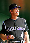 10 July 2011: Colorado Rockies Manager Jim Tracy stands in the dugout prior to facing the Washington Nationals at Nationals Park in Washington, District of Columbia. The Nationals shut out the visiting Rockies 2-0 salvaging the last game their 3-game series at home prior to the All-Star break. Mandatory Credit: Ed Wolfstein Photo