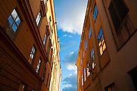 View of sky between buildings, Stockholm, Sweden
