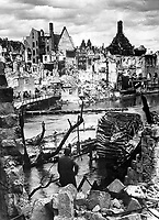 Choked with debris, a bombed water intake of the Pegnitz River no longer supplies war factories in Nuremberg, vital Reich industrial city and festival center of the Nazi party, which was captured April 20, 1945, by troops of the U.S. Army.  April 1945. (OWI)<br /> Exact Date Shot Unknown<br /> NARA FILE #:  208-AA-207L-1<br /> WAR &amp; CONFLICT BOOK #:  1327