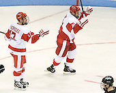 Evan Rodrigues (BU - 17), Wade Megan (BU - 18) - The Boston University Terriers defeated the visiting Providence College Friars 4-2 (EN) on Saturday, December 13, 2012, at Agganis Arena in Boston, Massachusetts.