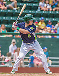 8 July 2014: Vermont Lake Monsters first baseman John Nogowski in action against the Lowell Spinners at Centennial Field in Burlington, Vermont. The Lake Monsters rallied with two runs in the 9th to defeat the Spinners 5-4 in NY Penn League action. Mandatory Credit: Ed Wolfstein Photo *** RAW Image File Available ****