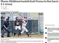 Middleton's Luke Ballweg hits a sacrifice fly in the 6th inning to bring in the winning run on Saturday, as Middleton tops Verona 2-1 in Big Eight Conference baseball | Wisconsin State Journal article in Sports 4/16/17  with online gallery at http://host.madison.com/wsj/sports/high-school/baseball/photos-middleton-baseball-deals-verona-its-first-loss-in-/collection_4c2a3adc-dd9f-5db7-a866-1109ad713fc9.html