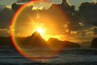Beach 4.The glare of the setting sun over the Pacific Ocean causes a rainbow effect on the scene from Beach 4 in Olympic National Park along Highway 101 in Jefferson County.