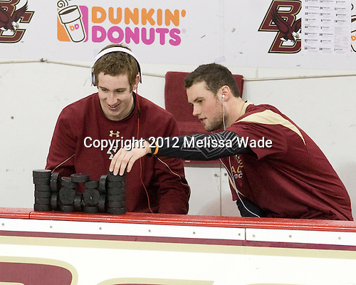 Kevin Hayes (BC - 12), Brian Dumoulin (BC - 2) - The Boston College Eagles defeated the Providence College Friars 7-0 on Saturday, February 25, 2012, at Kelley Rink at Conte Forum in Chestnut Hill, Massachusetts.