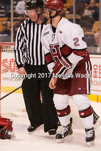 Joe Ross, Tyler Moy (Harvard - 2) - The Harvard University Crimson defeated the Northeastern University Huskies 4-3 in the opening game of the 2017 Beanpot on Monday, February 6, 2017, at TD Garden in Boston, Massachusetts.