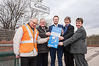 PIctured at Carlton Station for the launch of the new Castle Line Timetable from left are Station Adopter Tony Cave, Cllr John Clarke, Leader of Gedling Borough Council, Malcolm Payne, Deputy Leader of Gedling Borough Council, Jim Bamford, Rail Manager for Notts County Council and Jane Cheatle, Customer Services Manager for East Midlands Trains