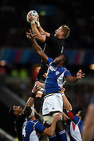 Luke Romano of New Zealand wins the ball at a lineout. Rugby World Cup Pool C match between New Zealand and Namibia on September 24, 2015 at The Stadium, Queen Elizabeth Olympic Park in London, England. Photo by: Patrick Khachfe / Onside Images