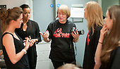 """Discussing what make up is needed.  Special Olympics Surrey put on a show,   """"Beyond the Stars"""", at the Rose Theatre, Kingston upon Thames to raise money for the  SOGB team.  The Special Olympics are for athletes with learning disabilities."""