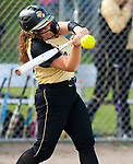 WATERBURY,  CT-051117JS16- WCA's Gabie Rocco  (20) rips a base hit RBI during their game against Crosby Thursday at Huntingdon Park in Waterbury. <br />  Jim Shannon Republican-American