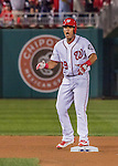 7 October 2016: Washington Nationals catcher and Baseball America top prospect Pedro Severino stands on second base after hitting a double in the 4th inning of the NLDS Game 1 against the Los Angeles Dodgers at Nationals Park in Washington, DC. The Dodgers edged out the Nationals 4-3 to take the opening game of their best-of-five series. Mandatory Credit: Ed Wolfstein Photo *** RAW (NEF) Image File Available ***