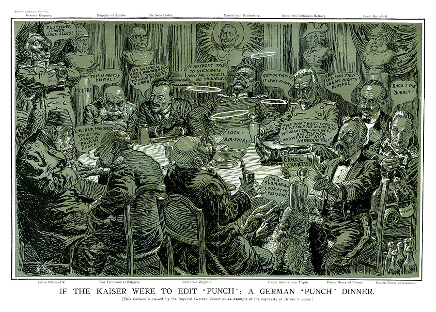 """If the Kaiser Were to Edit """"Punch"""" : A German """"Punch"""" Dinner. [This cartoon is passed by the Imperial German Censor as an example of the depravity of British humour.]"""