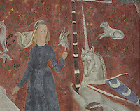 Detail of a unicorn from a fresco entitled La Periode Romane, 1 of a series of 4 paintings depicting the 4 ages of French art, showing the tapestry La Dame a la Licorne, with a boy entertaining the ladies of the court with songs and stories, painted in Art Deco style in 1929-30 by Robert La Montagne Saint-Hubert, 1887-1950, and 2 assistants, Ethel Wallace and James Newell, 1900-1985, 1 of 6 frescoes which were discovered during works in 1994 and restored in 2011, in the Grand Salon or Great Hall of the Fondation des Etats Unis or American Foundation, designed by Pierre Leprince-Ringuet, 1874-1954, and inaugurated in 1930, in the Cite Internationale Universitaire de Paris, in the 14th arrondissement of Paris, France. The Grand Salon is listed as a historic monument. The CIUP or Cite U was founded in 1925 after the First World War by Andre Honnorat and Emile Deutsch de la Meurthe to create a place of cooperation and peace amongst students and researchers from around the world. It consists of 5,800 rooms in 40 residences, accepting another 12,000 student residents each year. Picture by Manuel Cohen. Further clearances may be requested.