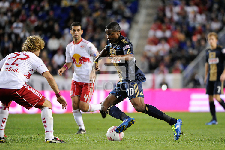 Danny Mwanga (10) of the Philadelphia Union. The New York Red Bulls defeated the Philadelphia Union  1-0 during a Major League Soccer (MLS) match at Red Bull Arena in Harrison, NJ, on October 20, 2011.