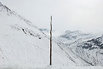 Furka Pass (2431m) connecting Uri Canton and Valais Canton. Wood is used to show the trace of the route when it is covered with snow. The pass is closed for seven months of the year. Photographed shortly before the closure.