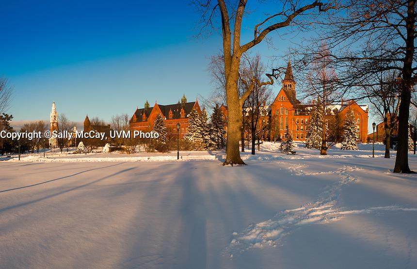 The UVM Green and University Row, UVM Winter Campus