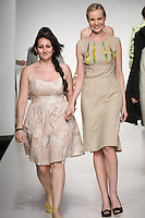 Senior fashion designer Nadia Mohamed, walks runway with model, at the close of the Pratt 2011 fashion show.