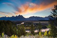 Autumn sunset, Snake River Overlook, Grand Tetons, Grand Teton National Park