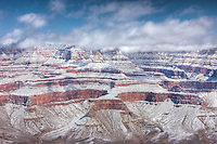 Grand Canyon view from Mather Point after a heavy winter snowfall.