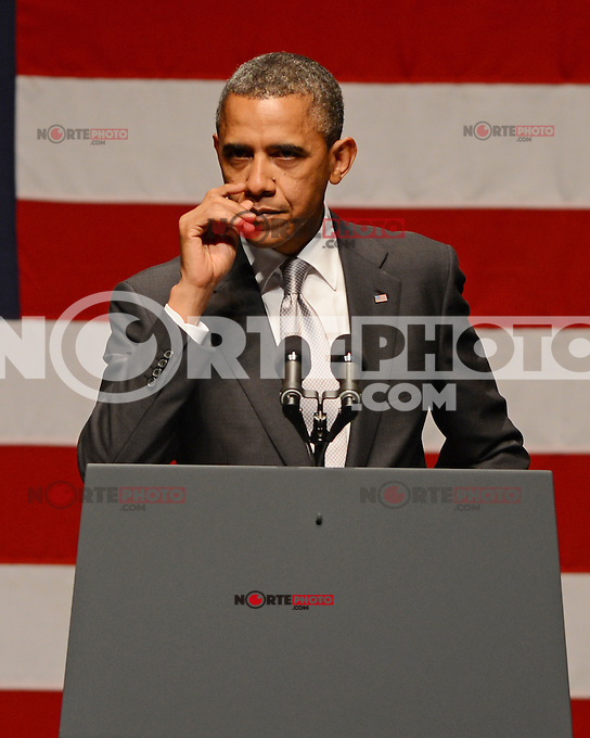MIAMI BEACH, FL - JUNE 26: US President Barack Obama speaks during a fundraiser hosted by Marc Anthony at the Fillmore Miami Beach on June 16, 2012 in Miami Beach, Florida. &copy;&nbsp;mpi04/MediaPunch Inc.. /**NORTEPHOTO:COM**<br />