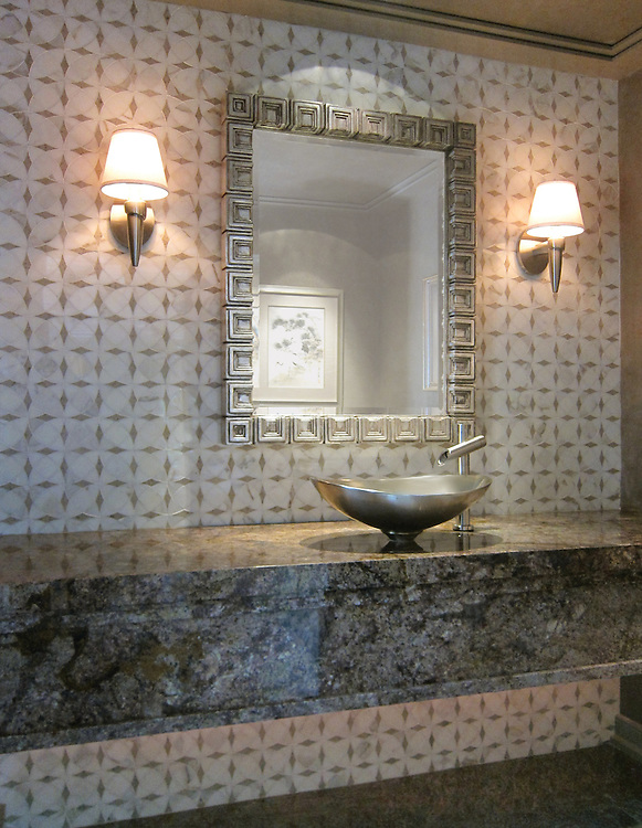 Zazen backsplash shown in Calacatta Tia and Gascogne Blue honed.  <br />
