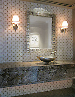 Zazen, a natural stone waterjet mosaic shown in honed Calacatta Tia and Gascogne Blue, is part of the Miraflores Collection by Paul Schatz for New Ravenna Mosaics.<br />
