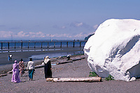 Glacial Erratic - a Big Granite Rock painted White - on Beach at Semiahmoo Bay, White Rock, BC, British Columbia, Canada - Seaside Attraction