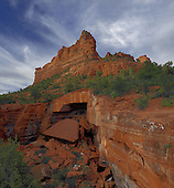 Morning Glory Spire aka The Sphinx sits above the Devils Kitchen sinkhole in  Sedona, AZ.