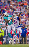 14 September 2014: Buffalo Bills cornerback Corey Graham (20) breaks up a pass intended for Miami Dolphins wide receiver Mike Wallace (11) in the first quarter at Ralph Wilson Stadium in Orchard Park, NY. The Bills defeated the Dolphins 29-10 to win their home opener and start the season with a 2-0 record. Mandatory Credit: Ed Wolfstein Photo *** RAW (NEF) Image File Available ***