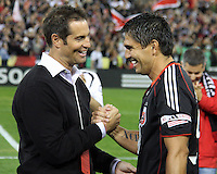 Jaime with old friend John Harkes during festivities surrounding the final appearance of Jaime Moreno in a D.C. United uniform, at RFK Stadium, in Washington D.C. on October 23, 2010. Toronto won 3-2.