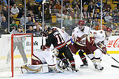John Gravallese, John Muse (BC - 1), Justin Daniels (Northeastern - 11), Pat Mullane (BC - 11), Patrick Wey (BC - 6), Tommy Cross (BC - 4) - The Boston College Eagles defeated the Northeastern University Huskies 5-4 in their Hockey East Semi-Final on Friday, March 18, 2011, at TD Garden in Boston, Massachusetts.